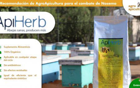 Api Herb además de ser un complemento nutricional, ensayos de campo han demostrado resultados exitosos en el combate de Nosema para las Abejas.